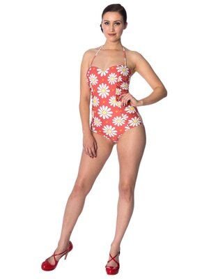 Banned Crazy Daisy Swimsuit Red