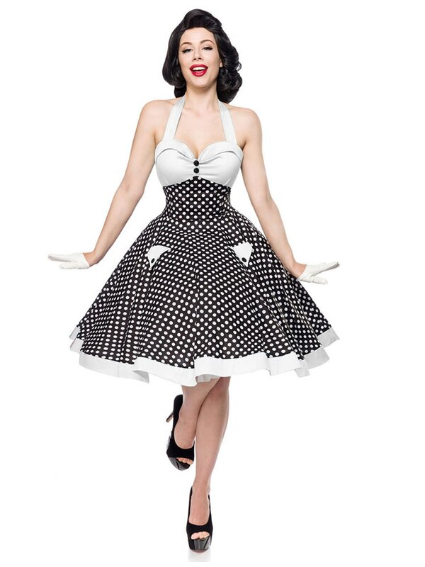 belsira vintage neckholderkleid schwarz weiss 49 95 rockabilly clothing. Black Bedroom Furniture Sets. Home Design Ideas