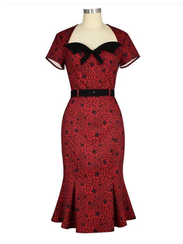 Vintage Fishtail Dress Floral Red