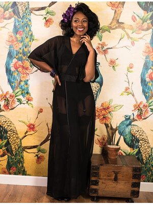 1930s Sheer Lounging Robe Black