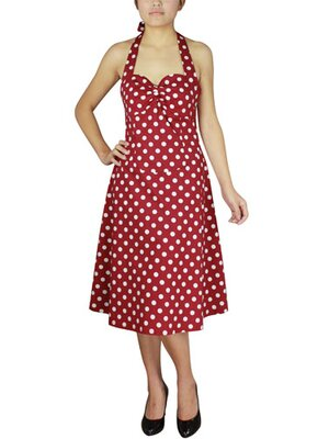 Polka Dot Halter Dress Rot