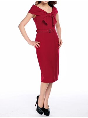 Bow Collar Pencil Dress Red