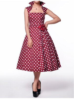 Polka-Dot Belted Red