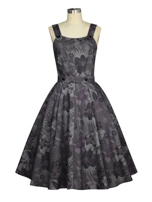Retro Schulter Kleid Purple
