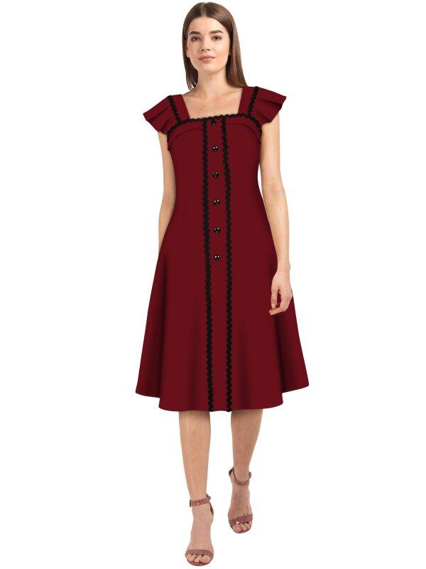 Retro Kleid mit Faltenärmelchen Rot