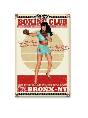 Bettie Page Boxing Club Blechschild